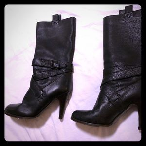 Vero Cuoio Black Leather Boots Italy 38 (7 1/2)